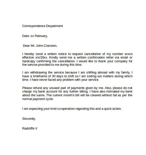 Service Cancellation Letter Format Sle Notice Cancellation Letter 9 Free Documents In