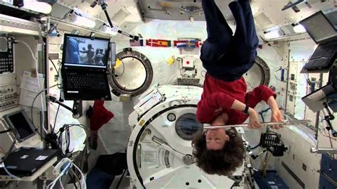 no gravity room nasa weightless astronaut pushes herself with a single hair nasa iss space science hd