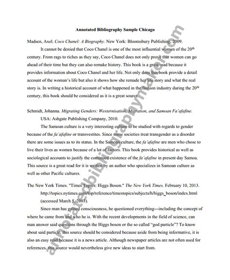 Exle Of Chicago Style Essay by Get A Chicago Style Annotated Bibliography Annotated Bibliography Maker