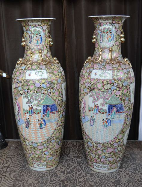 5 Foot Vases by Pair Of Enamelled Vases 5ft 2inches