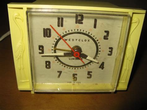 mid century westclox yellow flamingo alarm clock luminous 1950s working condition remember