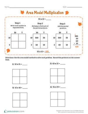 Area Model Multiplication Worksheets by Area Model Multiplication Worksheet Education