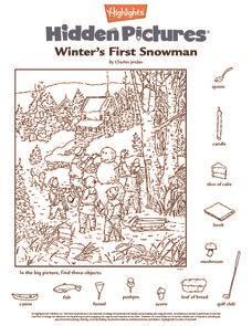 snowman hidden pictures printable winter s first snowman worksheet for pre k 1st grade