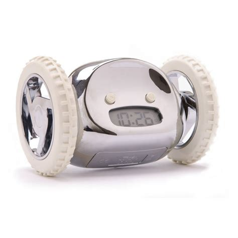 Alarm Wheels clocky alarm clock on wheels runaway clock black aqua or chrome by nanda home ebay