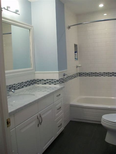 tile accents in bathroom bathroom reno with subway tile and blue accents