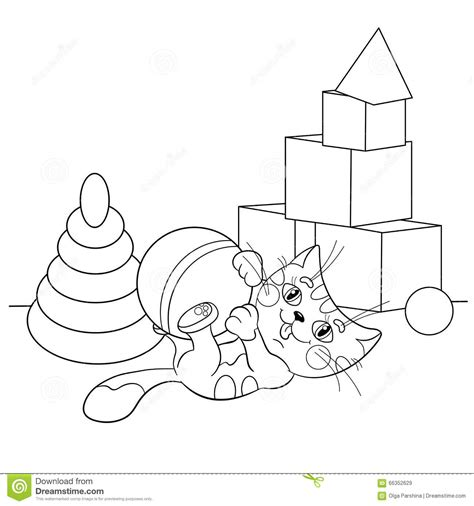 cats playing coloring pages coloring page outline of cartoon cat playing with toys