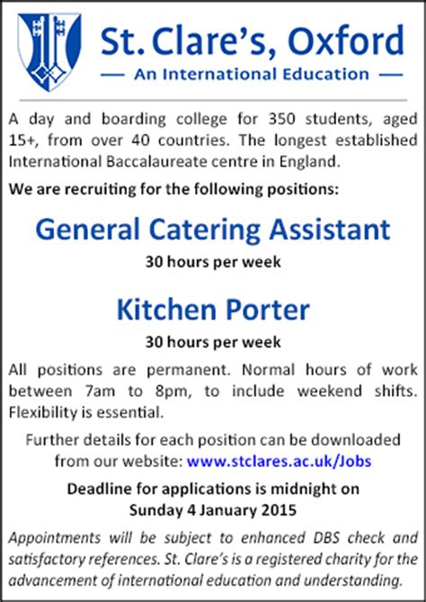 Kitchen Porter Vacancies In Oxford St Clare S Seeks General Catering Assistant And Kitchen Porter