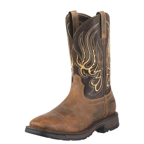 non slip work boots for ariat 10010891 workhog mesteno pull on eh square toe