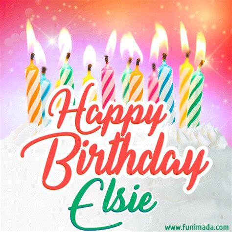 happy birthday gif  elsie  birthday cake  lit candles   funimadacom