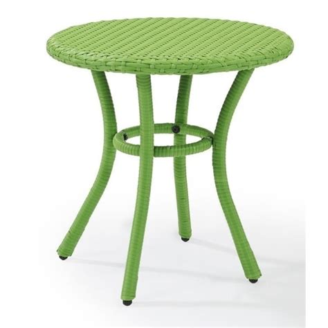 Crosley Palm Harbor Outdoor Wicker Round End Table Patio Green Patio Table