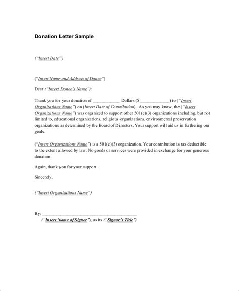 Donation Thank Letter Exles 9 Thank You Letters For Donation Free Sle Exle