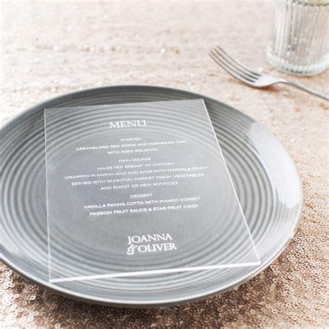 Acrylic Menu personalised clear acrylic menu cards by twenty seven