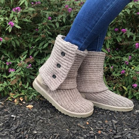 ugg cardy classic knit boot on sale 47 ugg shoes gray knit quot classic cardy quot ugg boots on