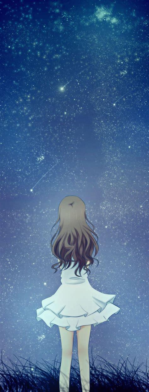 starry night sky girl anime stars in the sky anime anime and manga lovely