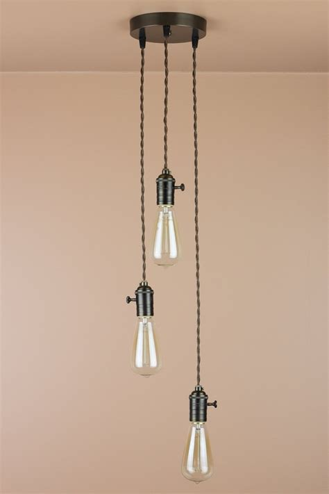 Hanging Bulb Chandelier 3 Light Chandelier Cascading Pendant Lights Edison Light Bulbs