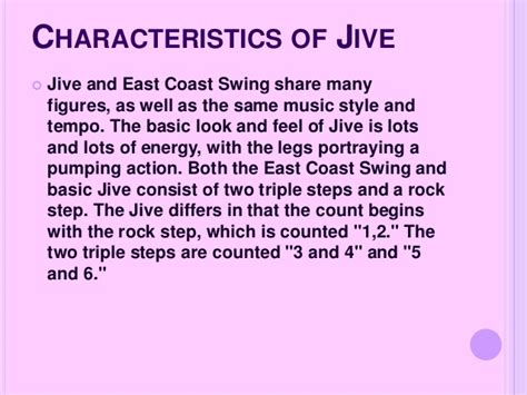 east coast swing songs jive and boogie powerpoint presentation