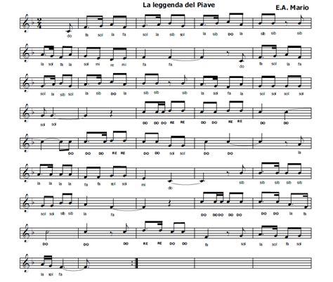testo piave musica e spartiti gratis per flauto dolce la leggenda
