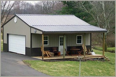 Shed Metal Building Home With Large Porch And Half Glass Swing Entry Door And Two Garage Pole Barn Garage With Porch Building Photos Garages Sheds Barns Steel Buildings Metal