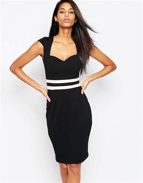 Band Waist Slit Hem evie dress with stripe band waist by vesper black