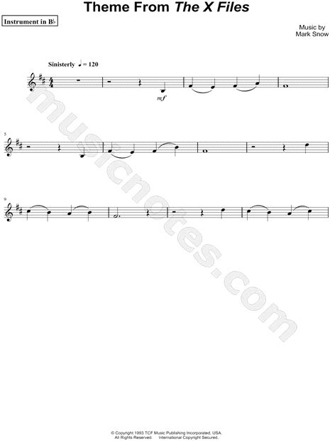 theme music x files quot theme from the x files abridged bb instrument quot from