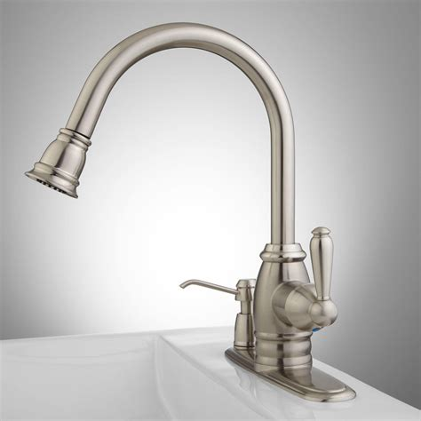 sonoma pull down kitchen faucet with integral soap