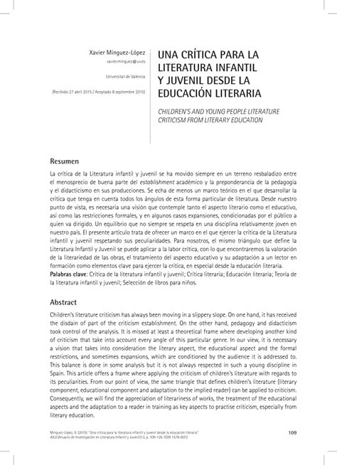 (PDF) Una crítica de la Literatura infantil y juvenil