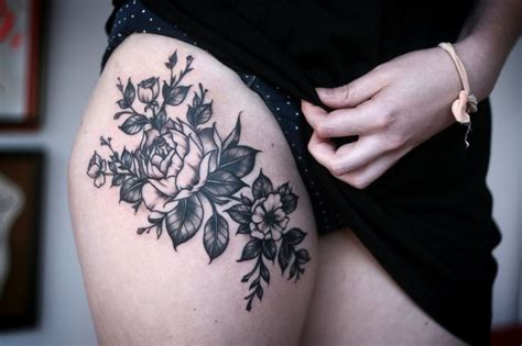 thigh tattoo roses pretty thigh pls