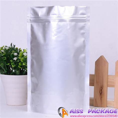 Standing Pouch Alufoil Silver 500 Zipper aliexpress buy stand up pouch with zipper silver aluminum foil zip lock bag resealable tea