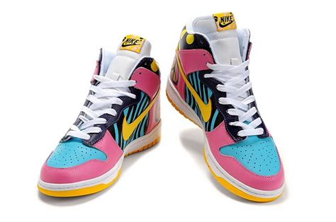 colorful nike dunk sb high tops funky town shoes pink