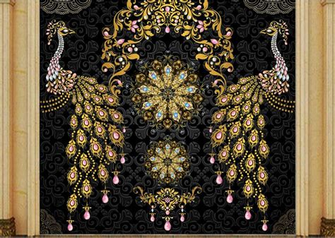 custom  luxury wallpaper luxury european black gold gem