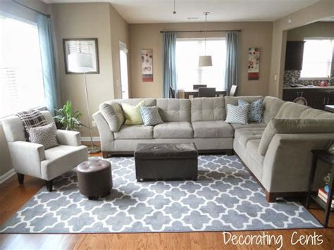house decoration furniture mommyessence com family room gray trellis rug sectional blue accents living