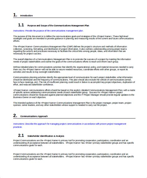 Cms Communication Plan Template 19 Management Sles Sle Templates