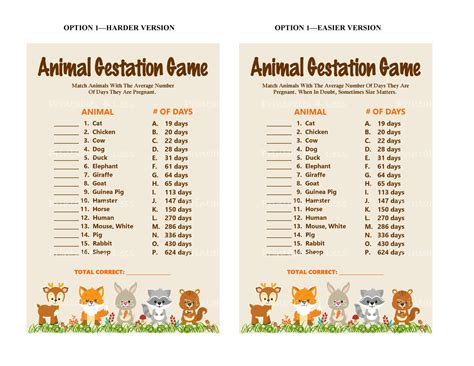 printable animal gestation game woodlands animal gestation game printable animal pregnancy