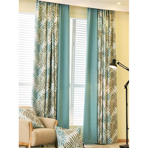 botanical print curtains blue botanical print poly cotton blend insulated country