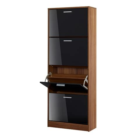 frances shoe cabinet in walnut with 4 doors in gloss black