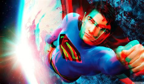 imagenes en reald 3d anaglyph 3d picture of superman flying in space
