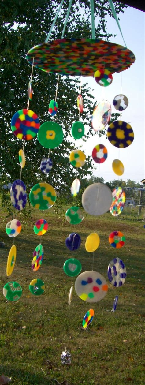 melted bead wind chimes sun catcher chime i made from melted fishing line