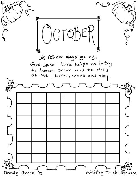 october coloring sheet calendar for kids