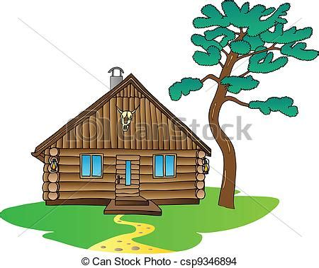 Small Ladari Casette D Ete by Wooden Cabin And Pine Tree Vector Illustration