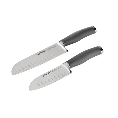 anolon kitchen knives 2 santoku knife set with sheaths gray anolon cookware