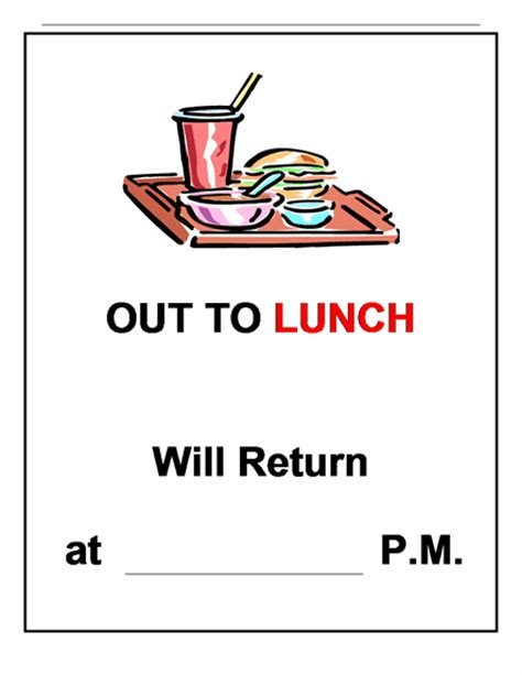 out of the office sign template out to lunch sign clipart clipartsgram