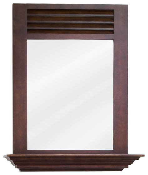 Bathroom Vanity Mirrors Houzz Louvered Vanity Set Matching Mirror Brown Traditional