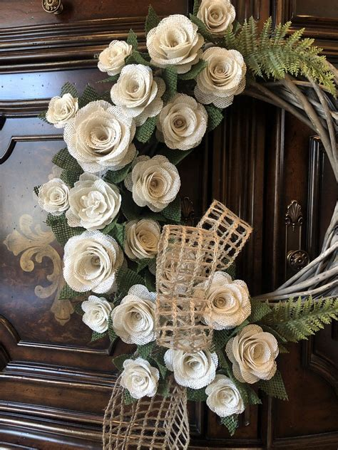 burlap rose wreath grapevine wreath rustic flower wreath