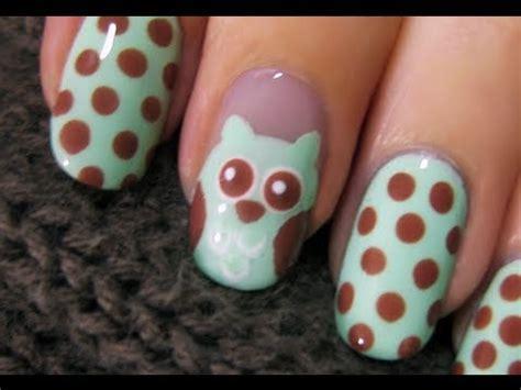 easy nail art by cutepolish cute owl nail art youtube