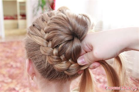 how to have a bun with a plait wrapped around it мастер класс прически из косички страна мам