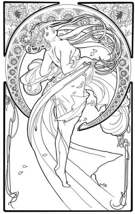 art nouveau coloring page alphonse mucha coloring page google search jan s