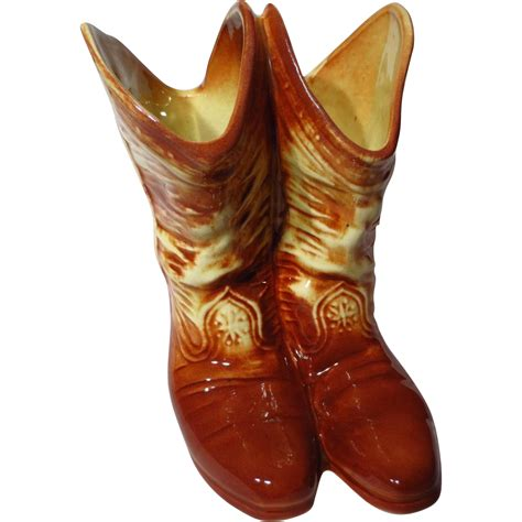 Cowboy Boot Vase by Vintage Mccoy Cowboy Boots Vase From Prairiewindantiques