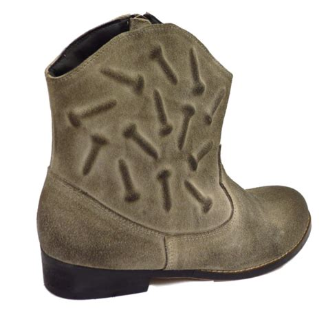 cowboy boots womens grey rubbed suede leather western