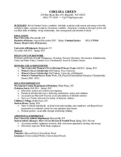 Criminal Justice Resume by Chelsea Green Criminal Justice Resume