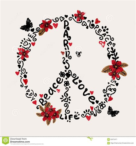 Print Notebook S M freehand peace illustration with flowers